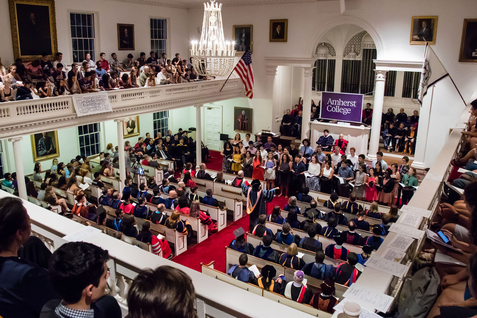 The crowd in Johnson Chapel, viewed from the balconey