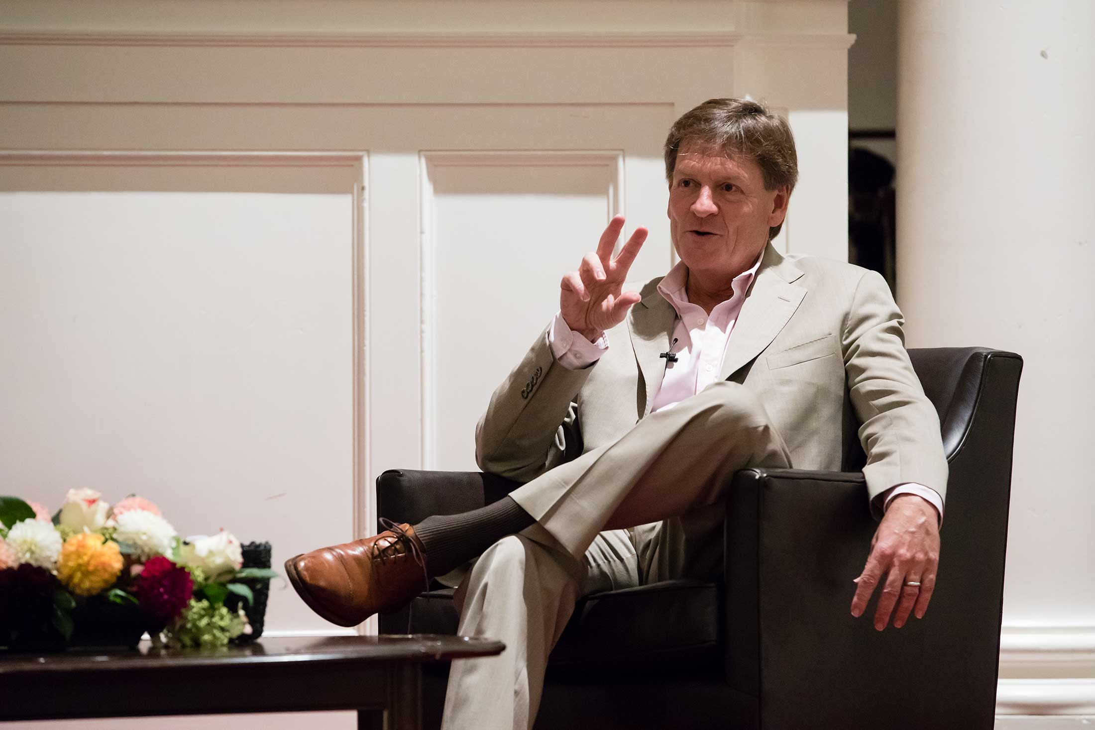 Michael Lewis speaking in Johnson Chapel
