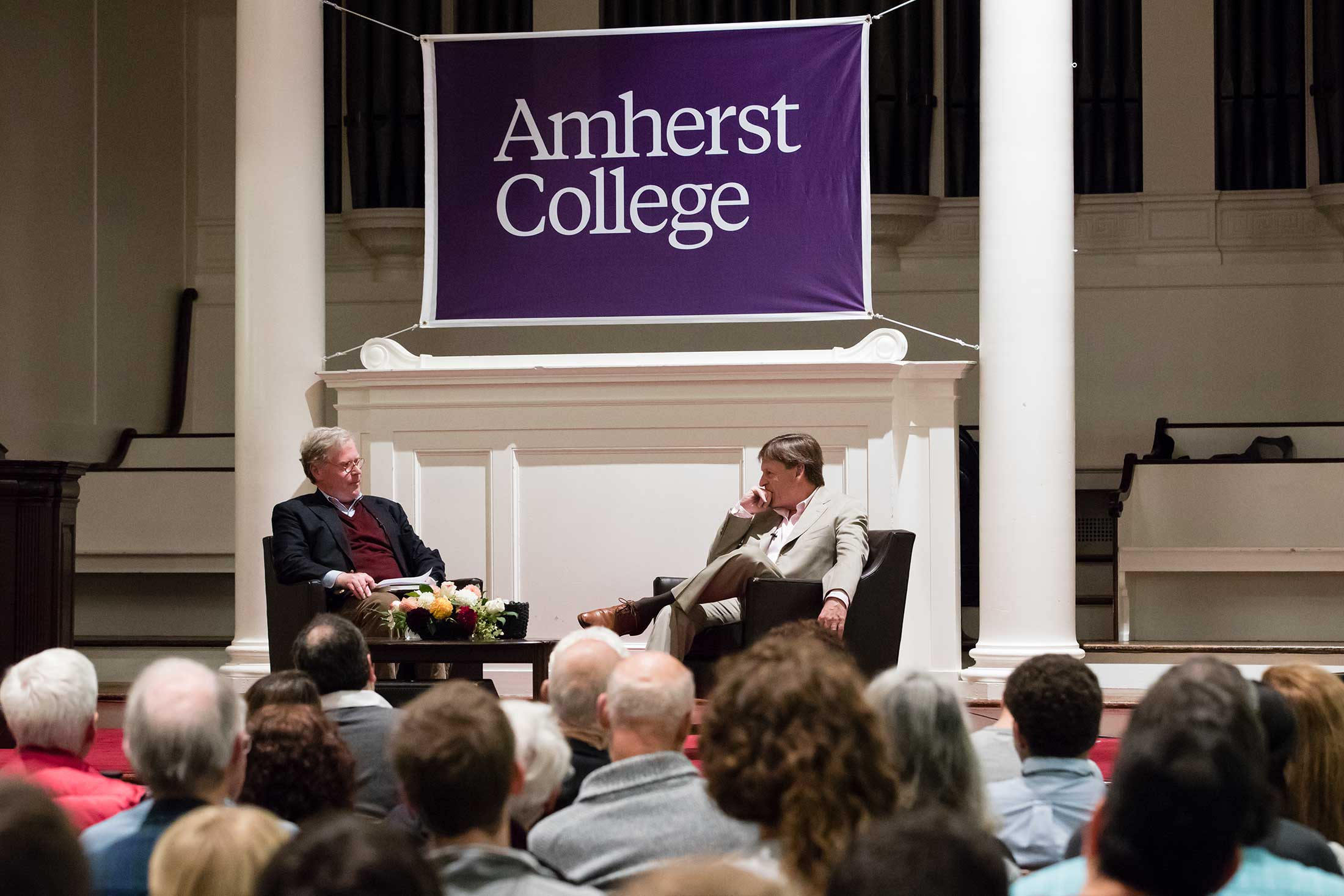 Michael Lewis with Cullen Murphy in Johnson Chapel at Amherst College