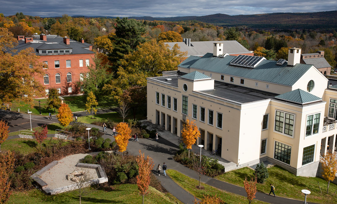 aerial view of the Campus Center building set against the hills in autumn