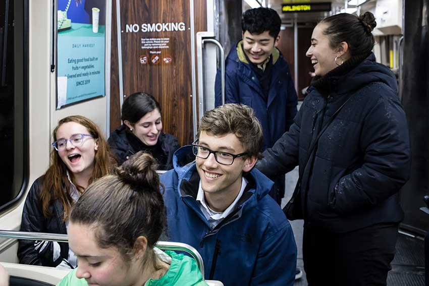 Amherst students on the Metro train in Boston