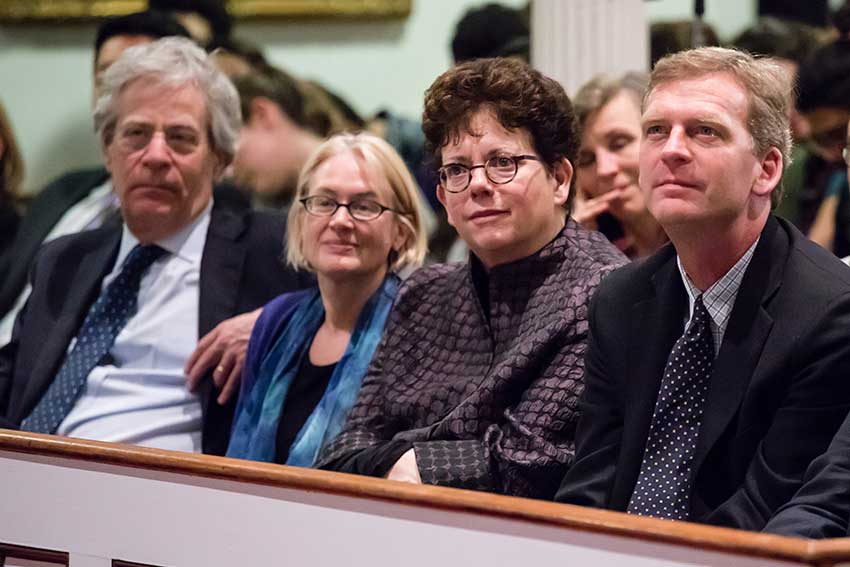 Lawrence Douglas, Katherine Epstein, Biddy Martin and Kevin Weinman listening to John Kasich in Johnson Chapel