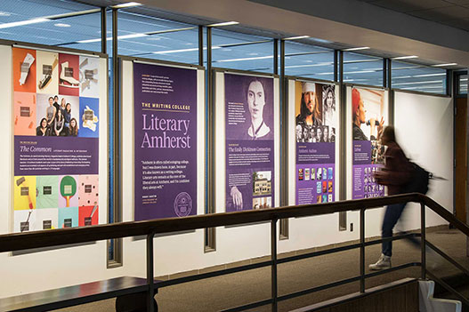 Posters in Frost Library promoting Amherst's literary history