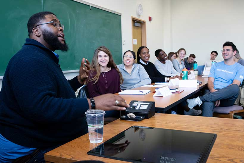 Anthony Jack in a classroom at Amherst College