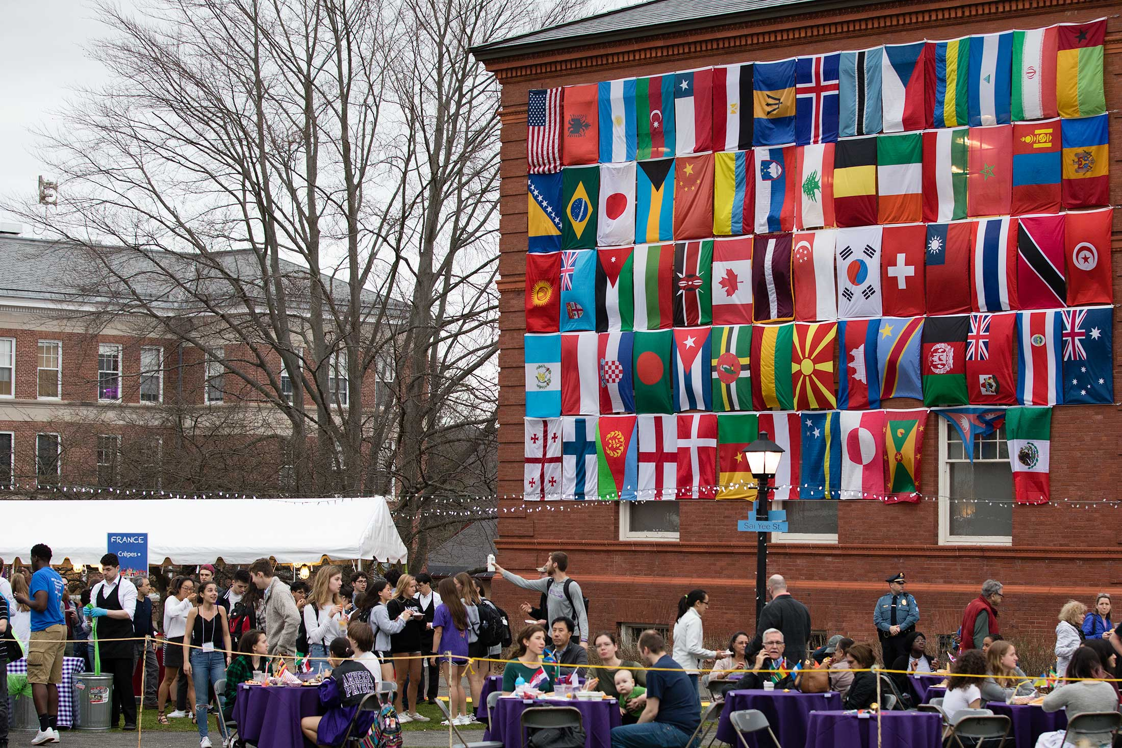 Flags from around the world are showcased at the City Streets celebration at Amherst College