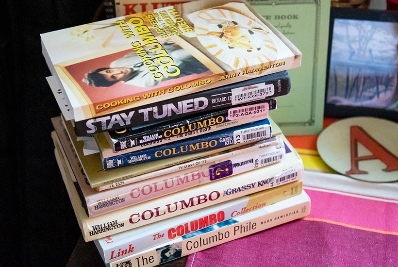 A stack of books related to the T.V. show Columbo
