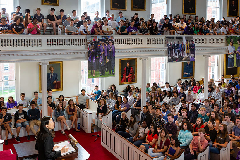 Min Jin Lee addressing the first-year class at Amherst College inside Johnson Chapel.