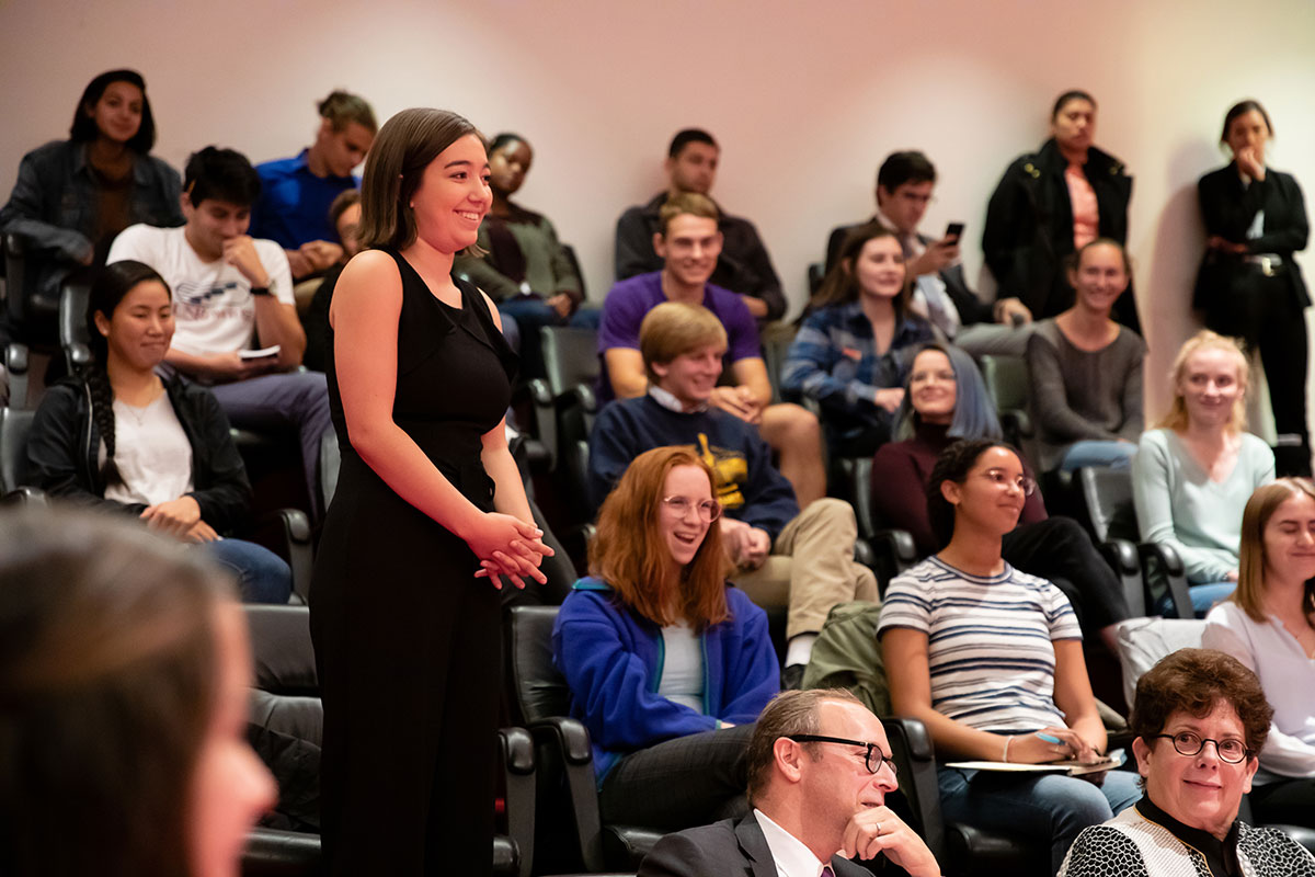 Students attending a seminar with Justice Ginsburg
