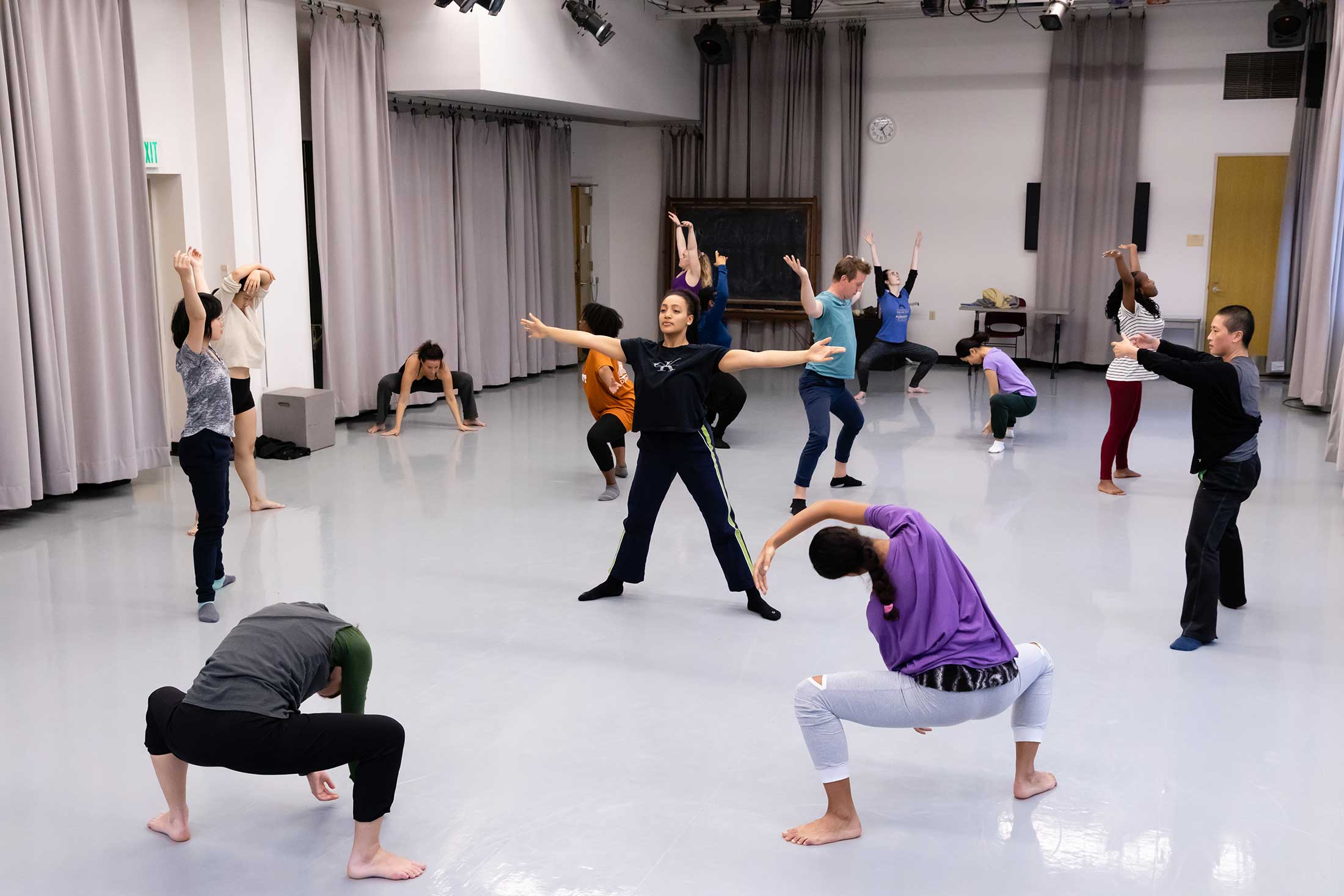 Students warming up for a dance master class