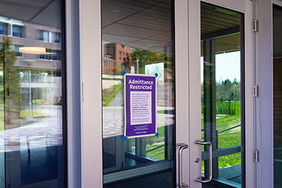 Signs on Amherst College campus indicating access restrictions during coronavirus closings