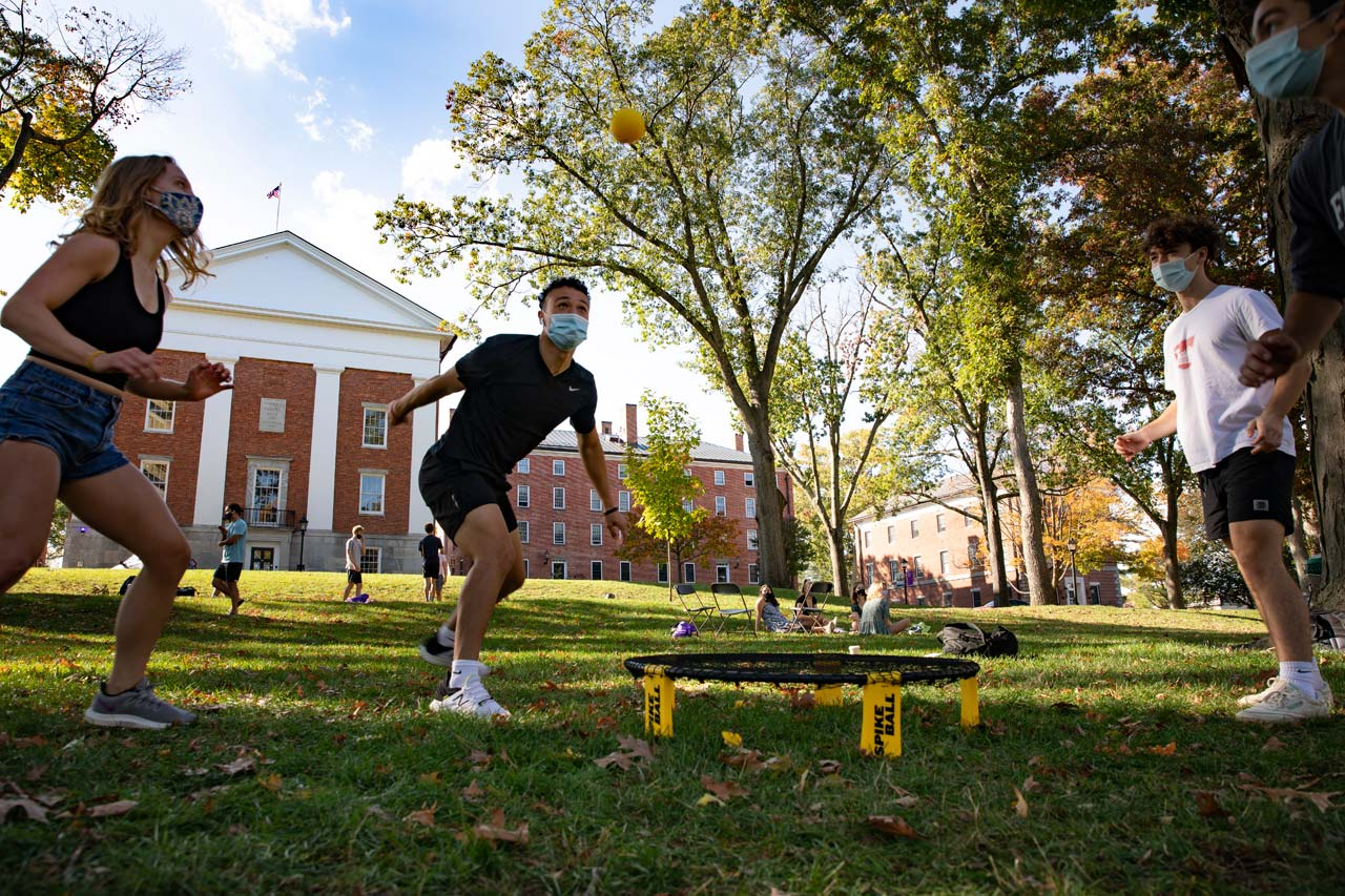 students play a game on the quad