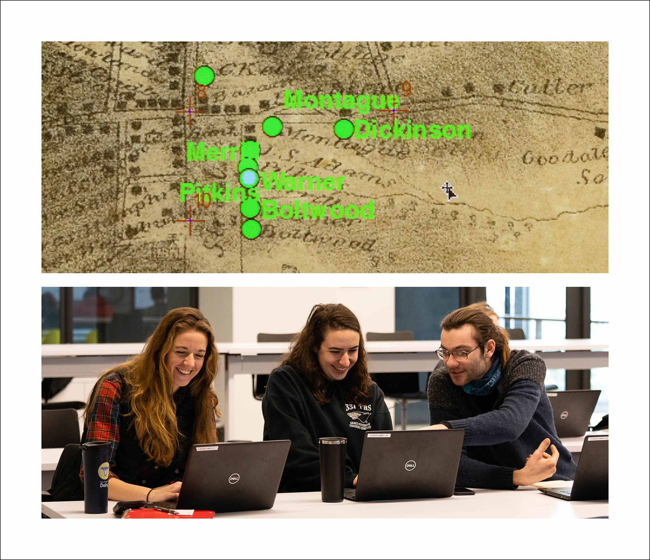 Three students gather around several laptops as well as an image of an old map of Amherst, MA.