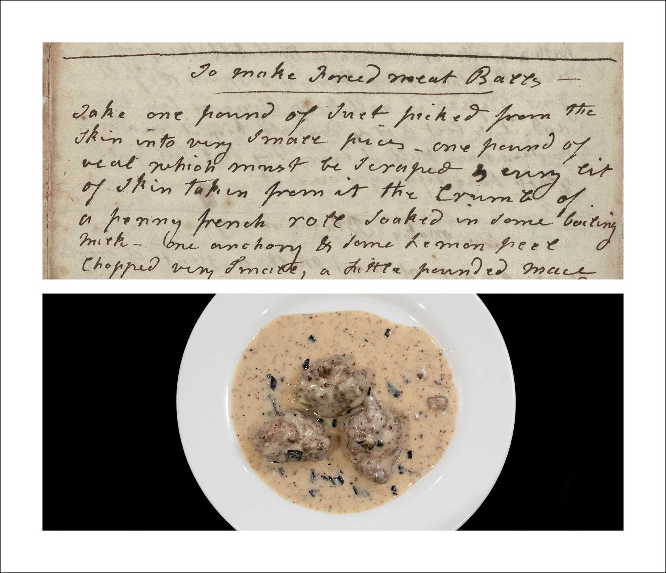 A bowl of food positioned beneath a historical document