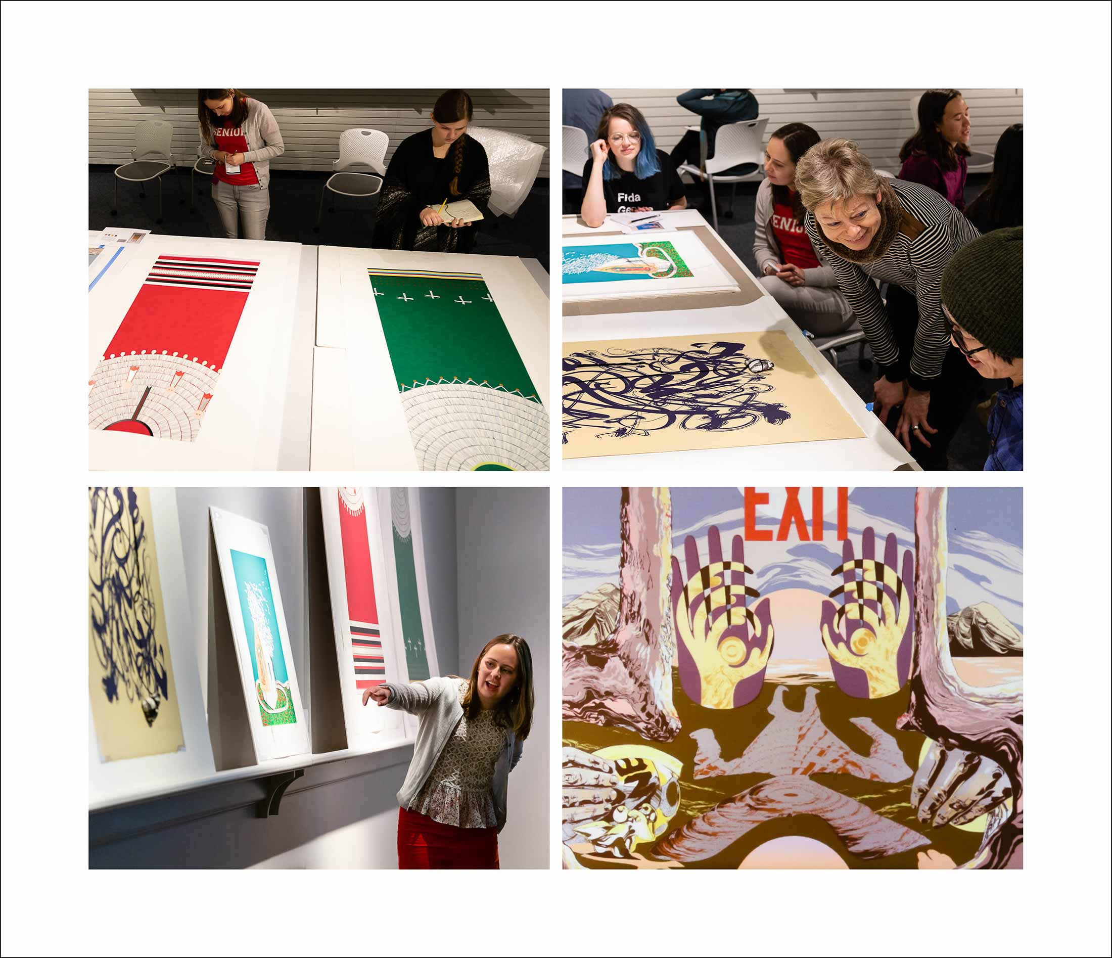Four photos of people observing and discussing prints spread out on tables and propped against walls