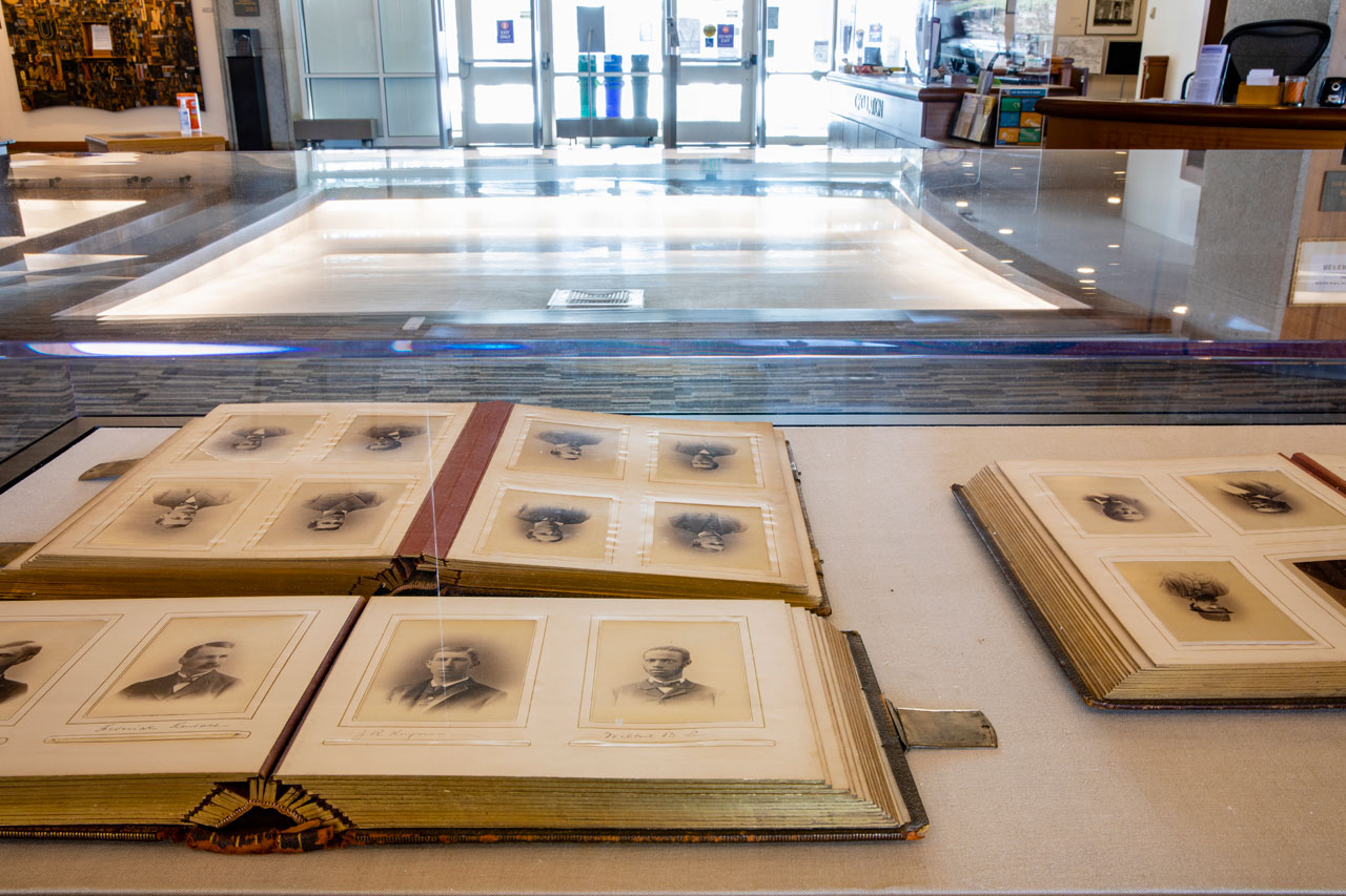 archival books in a display case