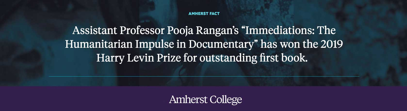 Pooja Rangan receives the Harry Levin Prize for outstanding first book