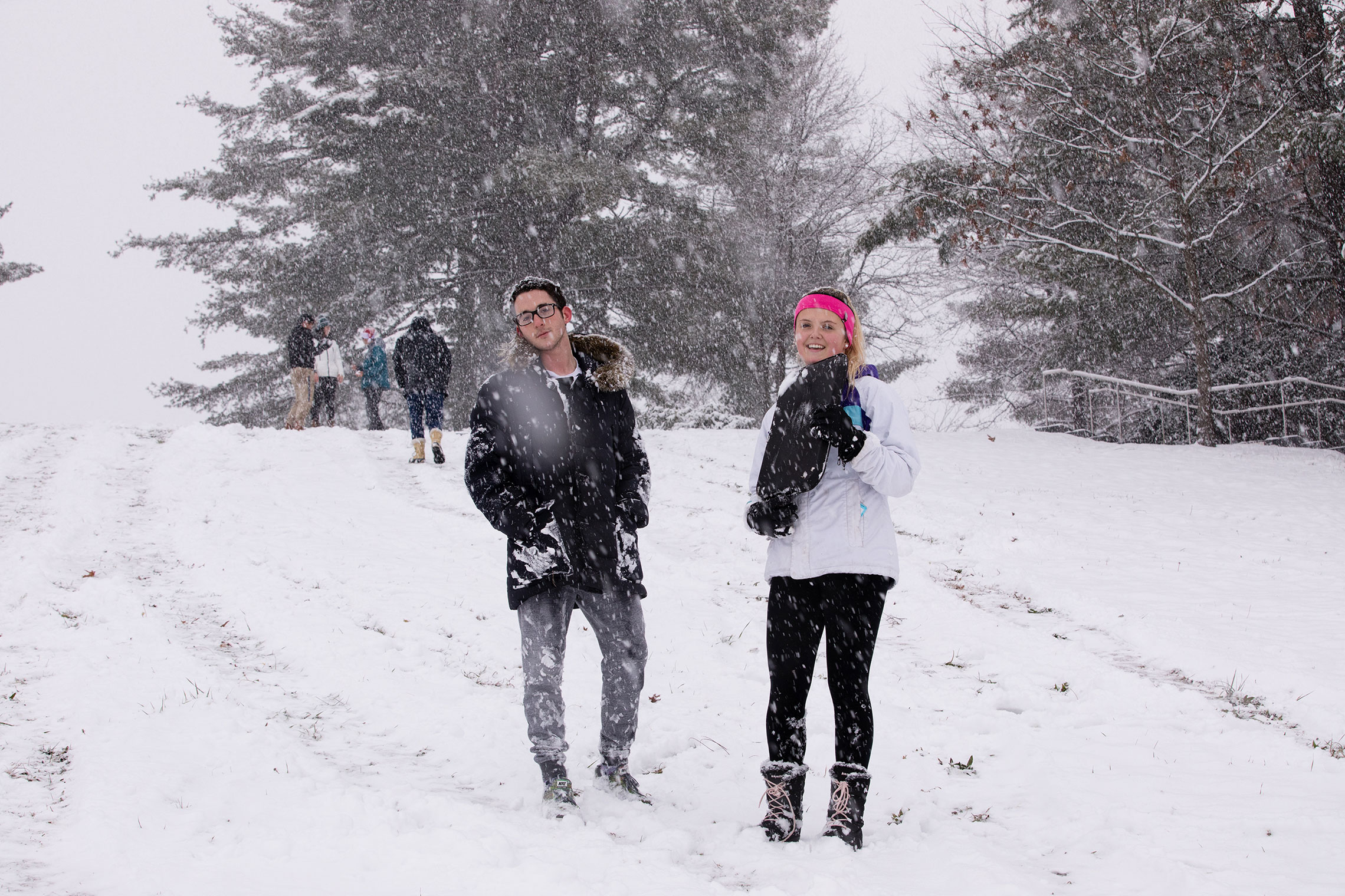 Amherst student enjoying the first snowfall of the year.