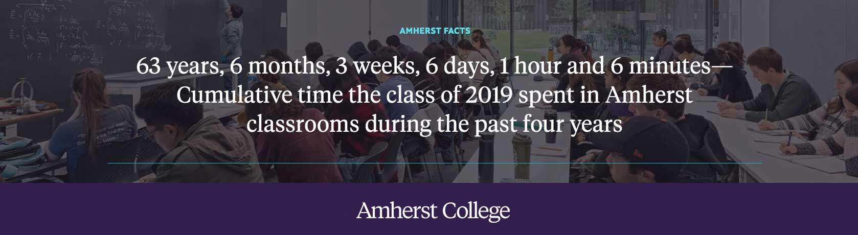 Commencement Fact: 63 years, 6 months, 6 days, 1 hour and 6 minutes: cumulative time in Amherst classrooms over the past 4 years