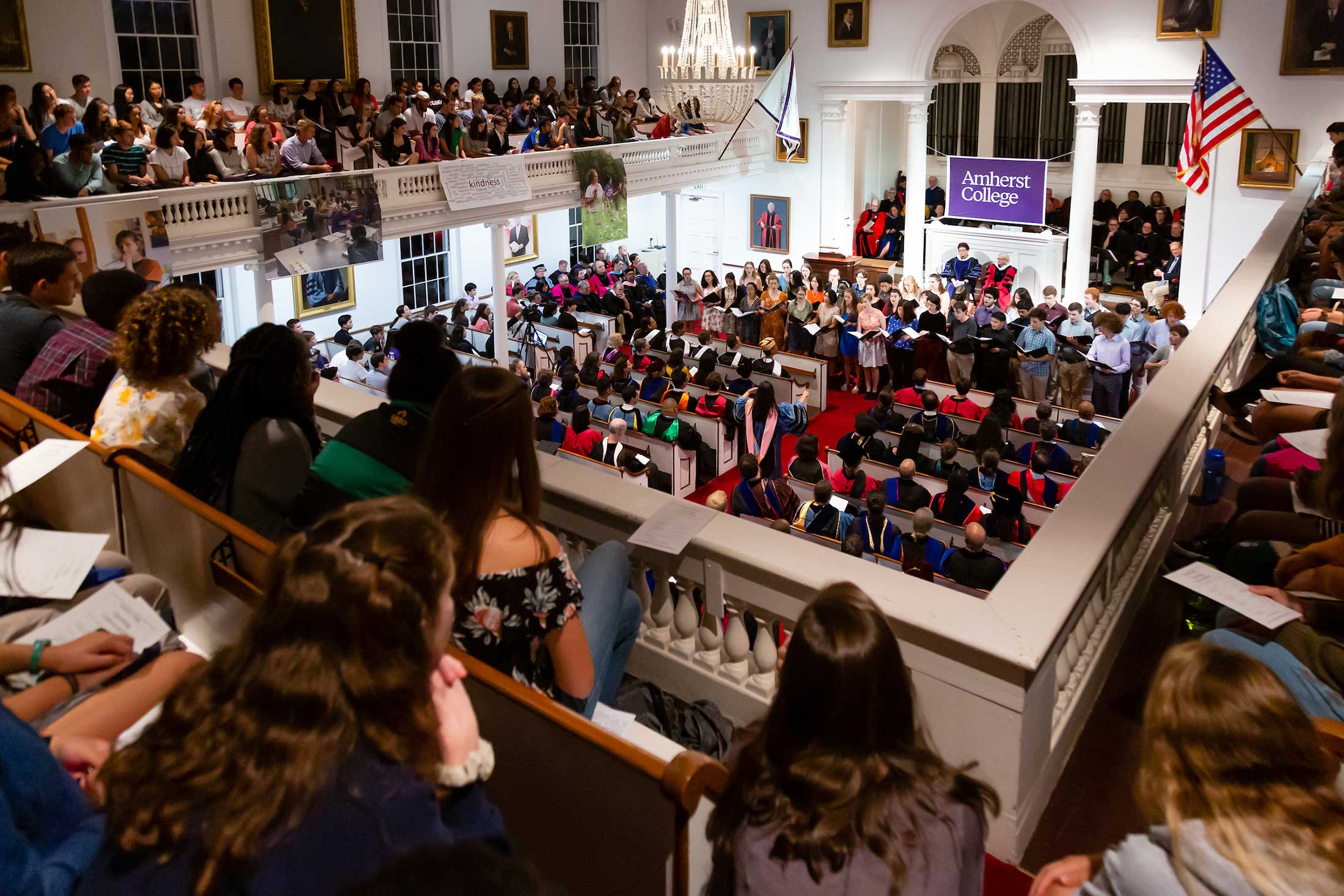 A view of convocation from the balcony of Johnson Chapel