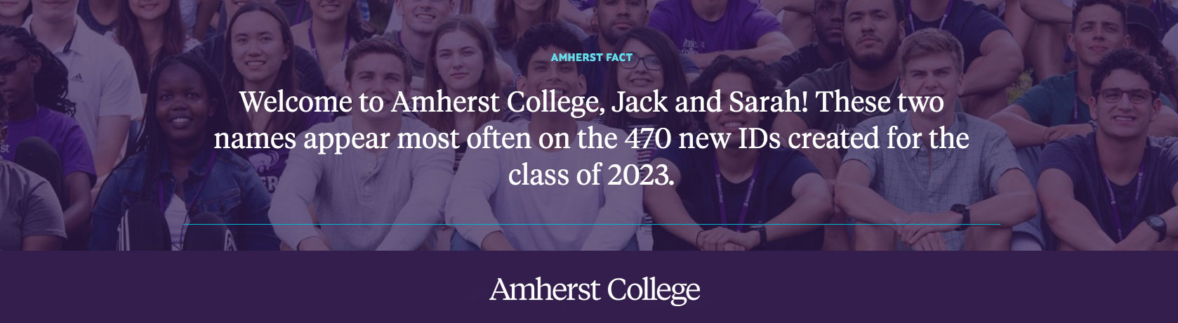 A fact about the incoming class of 2023, Amherst College