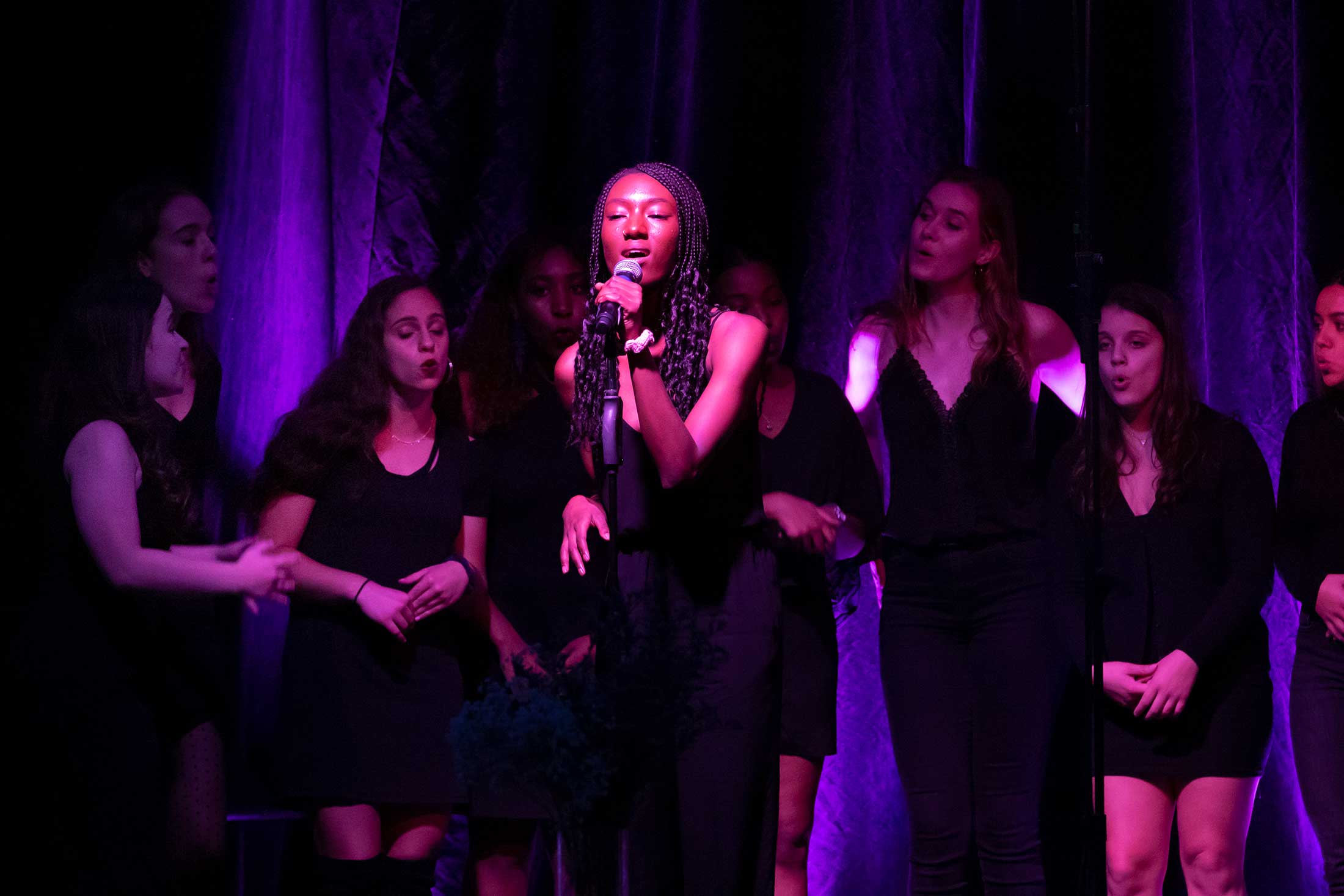 An all female a capella group performing