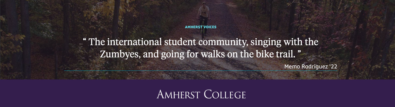 Quote by an Amherst student about what he misses about being on campus during covid quarantining