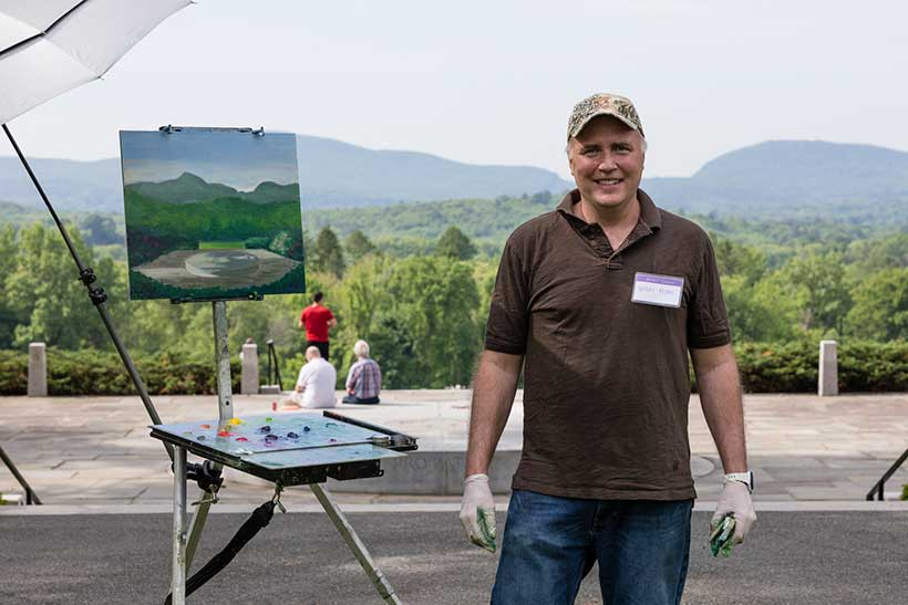 May 26, 2018: Reunion. Wright Moore '88 paints a view of Memorial Hill. Photo by Takudzwa Tapfuma '17.