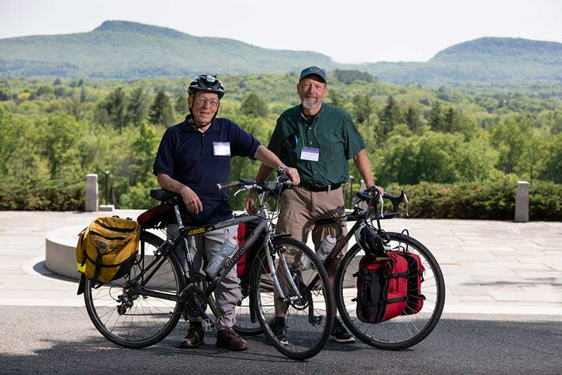 Brothers Mike Adams '75 and Neale Adams '63 biked to Amherst College from Canada for this year's Reunion.