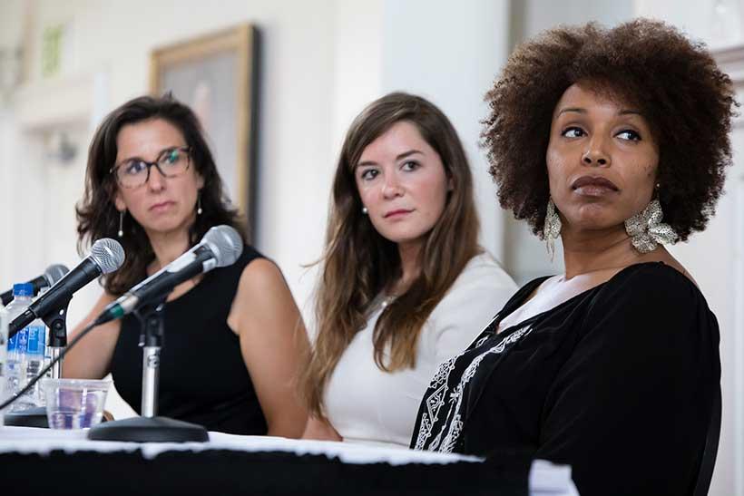 Jodi Kantor, Pulitzer-Prize winning New York Times reporter, Nichelle Carr '98, Monica Snyder '08, and Dana Bolger '14E