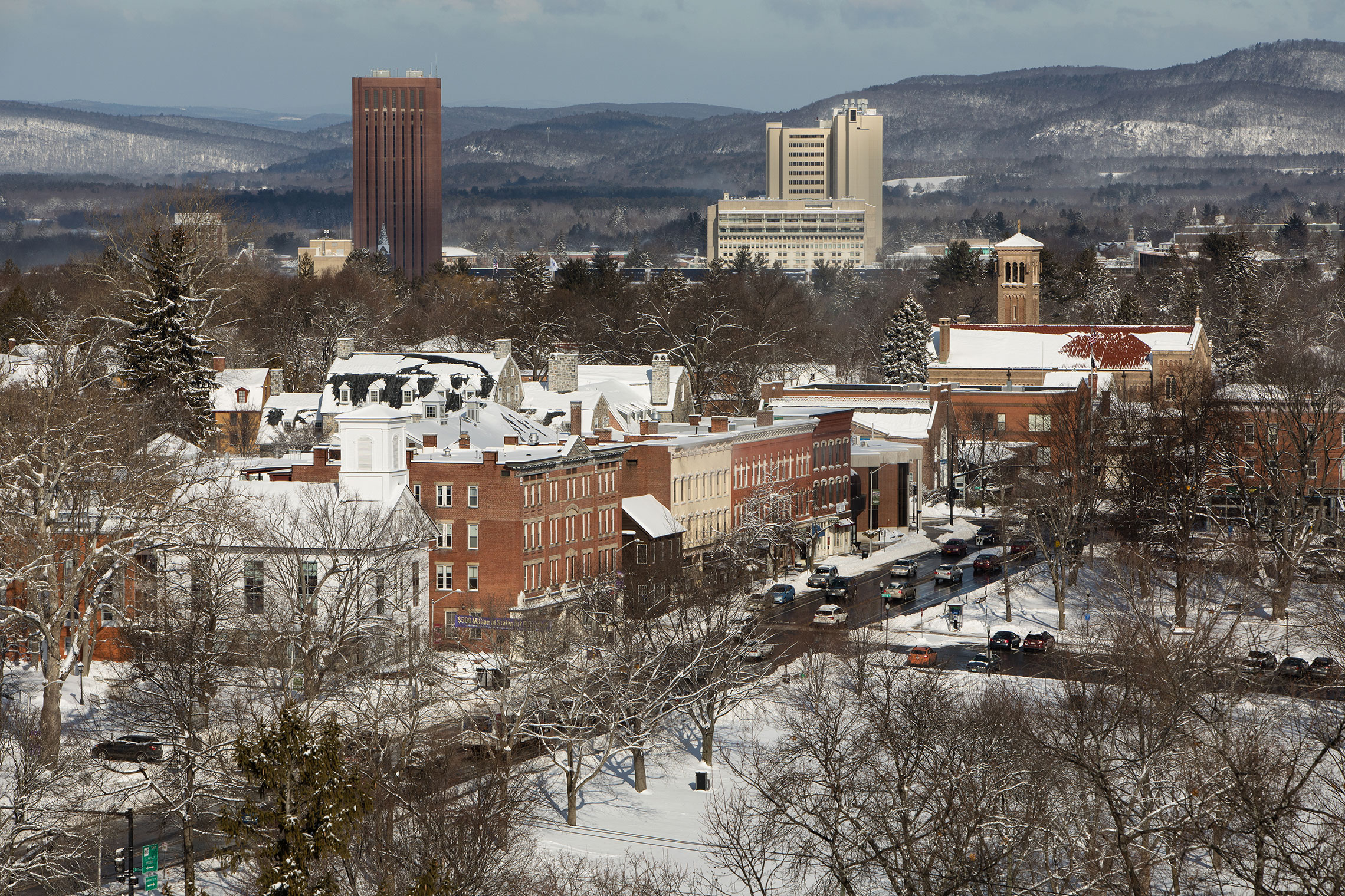 Aerial view of Amherst College in winter.