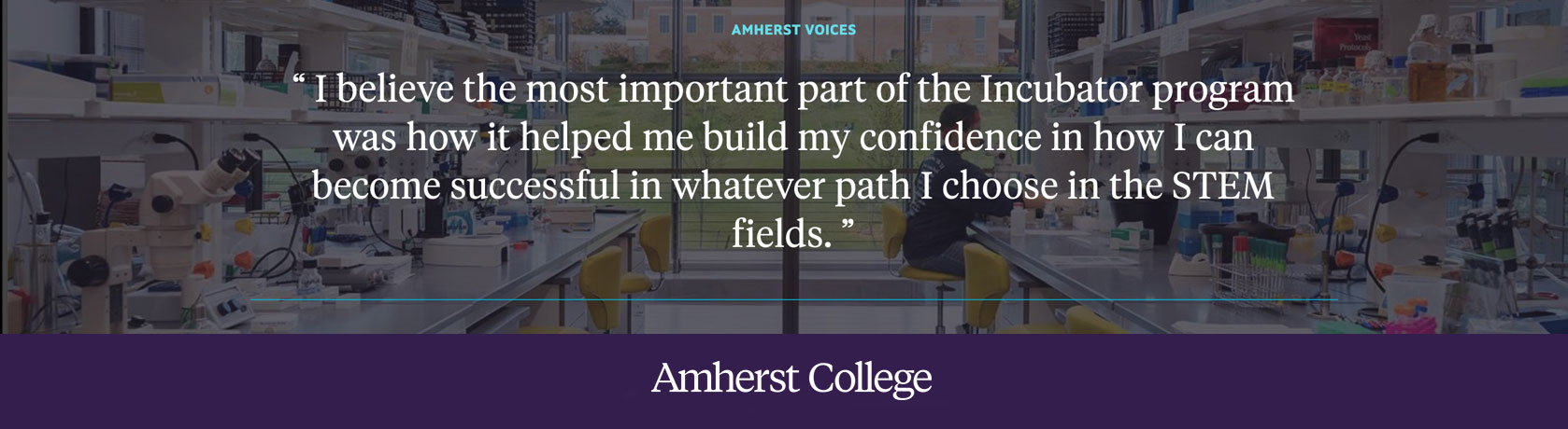 A quote about the Incubator Program at Amherst College