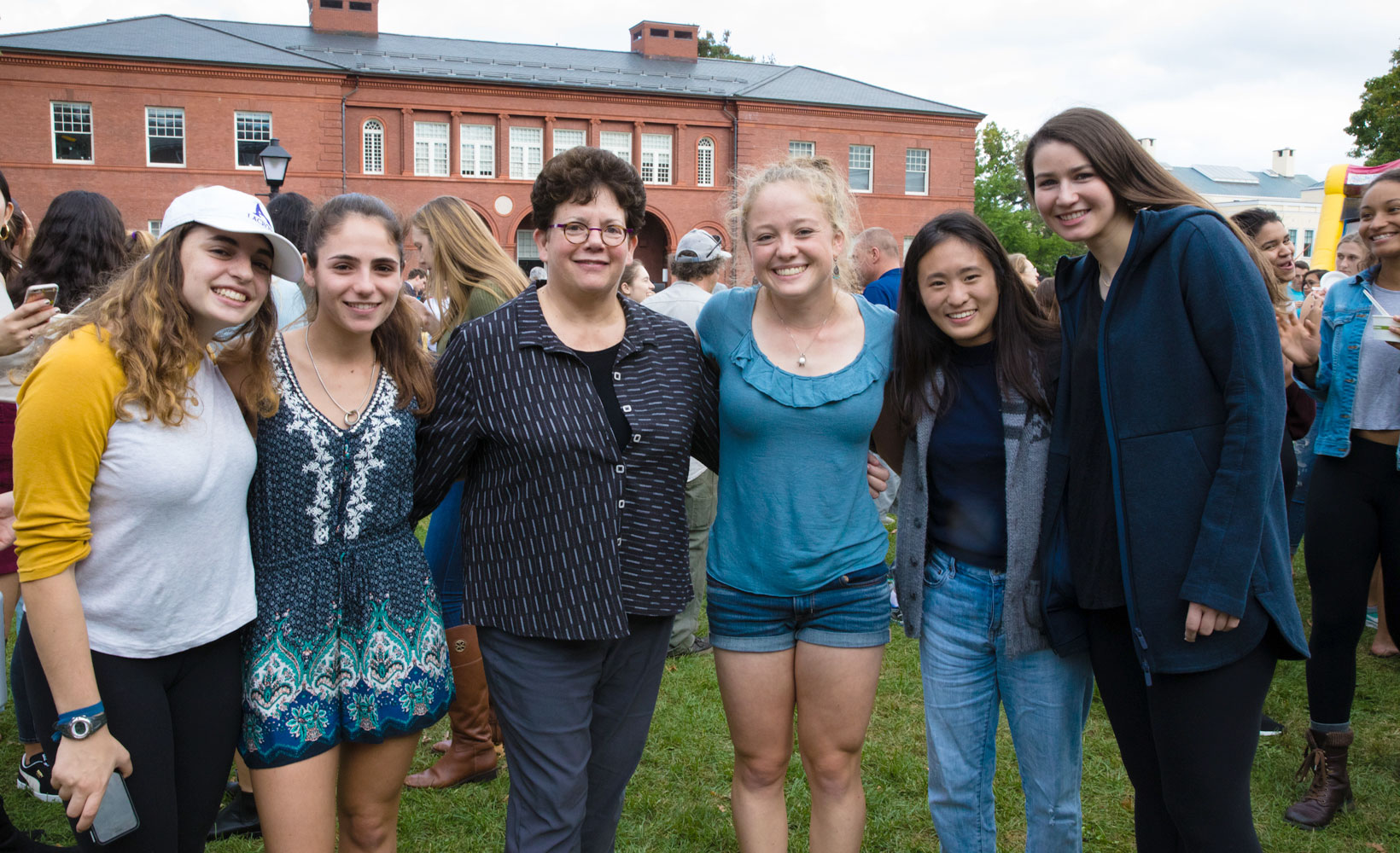 President Biddy Martin with Amherst College students at Fall Festival.