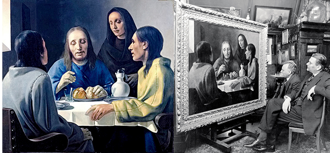 Painting, Supper at Emmaus, by Han van Meegeren and1938 photo of people studying painting
