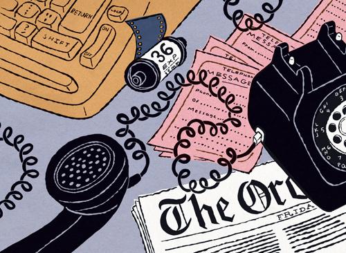 Illustration of newspaper writer's desk circa 1980
