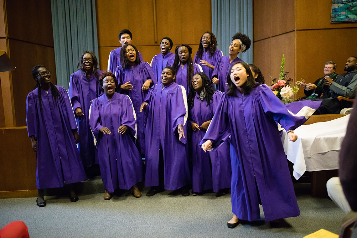 The Amherst Gospel Choir performed at the worship service.