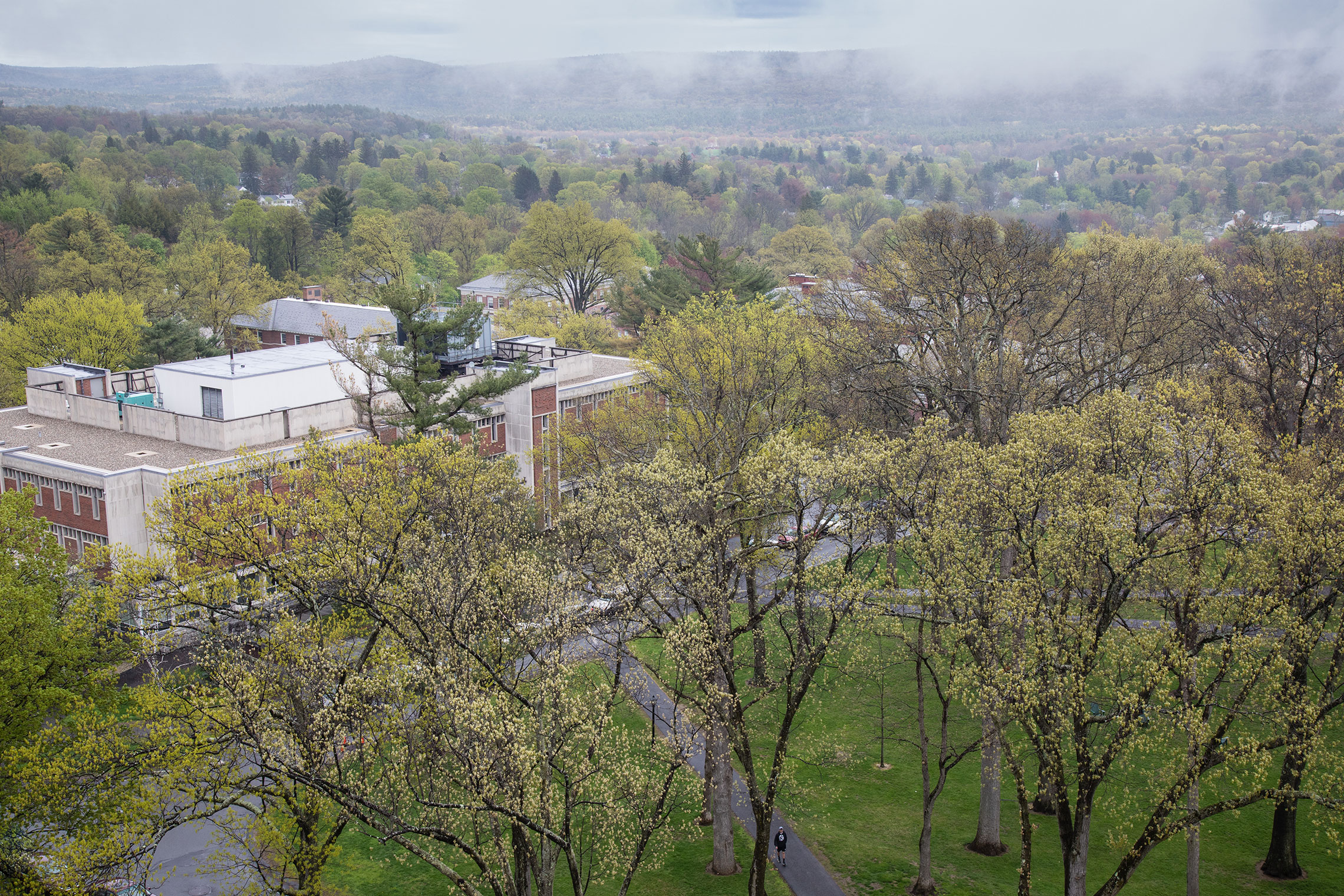 Aerial view of Amherst College in spring.