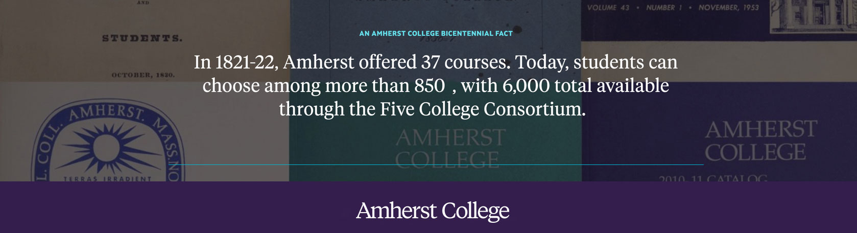 A collage of Amherst College course catalogs