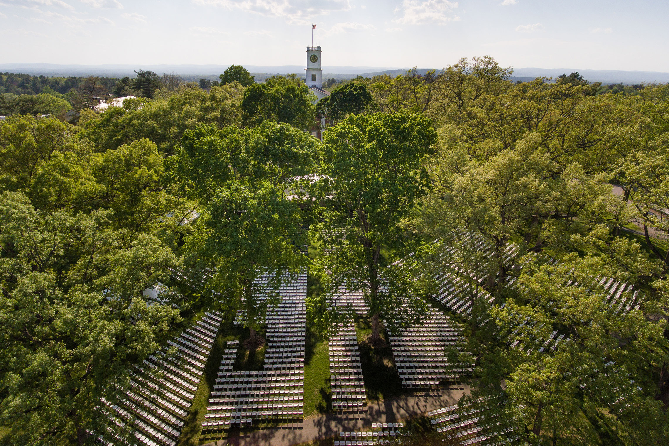 Aerial view of the Academic Quad just before Commencement.