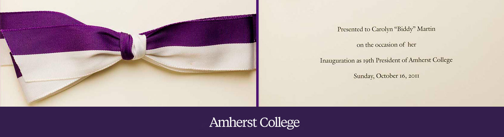 a purple and white bow and text the the program for the inauguration of president biddy martin