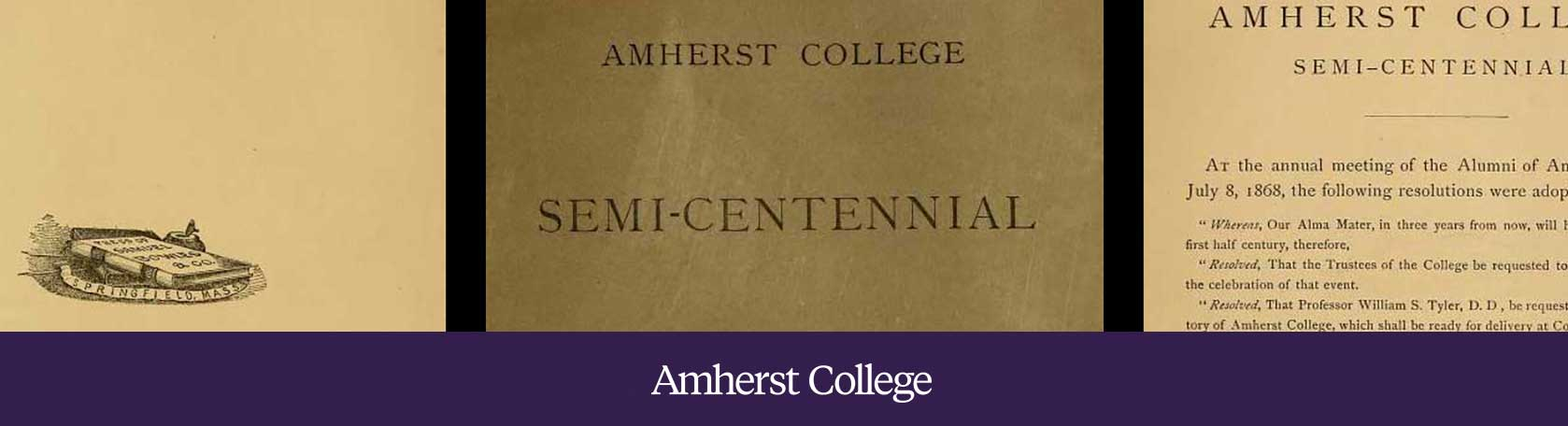 Pages from Amherst College's 1871 Semi-Centennial printed program