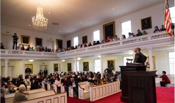 The Rev. Phillip A. Jackson '85 speaks to students at the DeMott Lecture