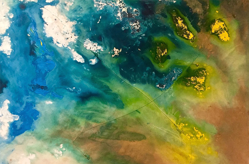 abstract water color painting of blues, greens and yellows blending together