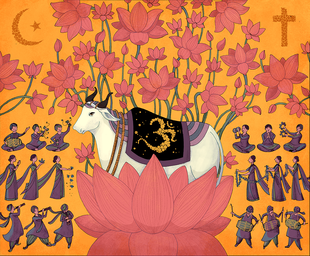 An illustration of a cow surrounded by flowers