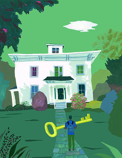 A illustration of a person with a giant key walking to a white house