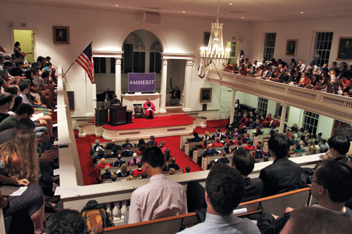 The crowd in Johnson Chapel for convocation