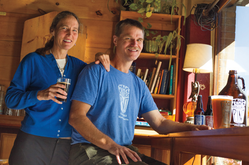 Alden Booth '83 and Lissa Greenough '83 at their brewery and café.