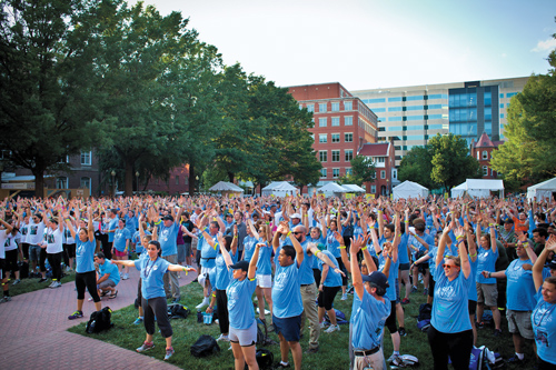 Participants preparing for the Out of the Darkness overnight walk in Washington, D.C.