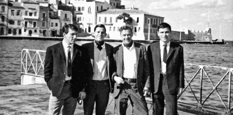 James Merrill '47 posing with 3 friends in Crete