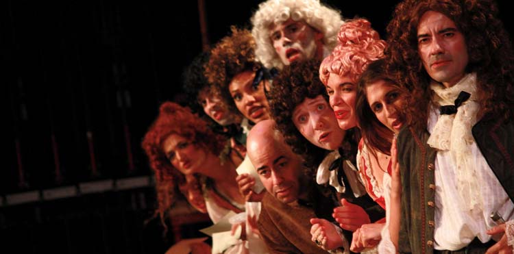 """Cast of """"The Libertine"""" on stage"""