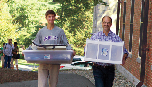 Father and son carrying boxes on moving day
